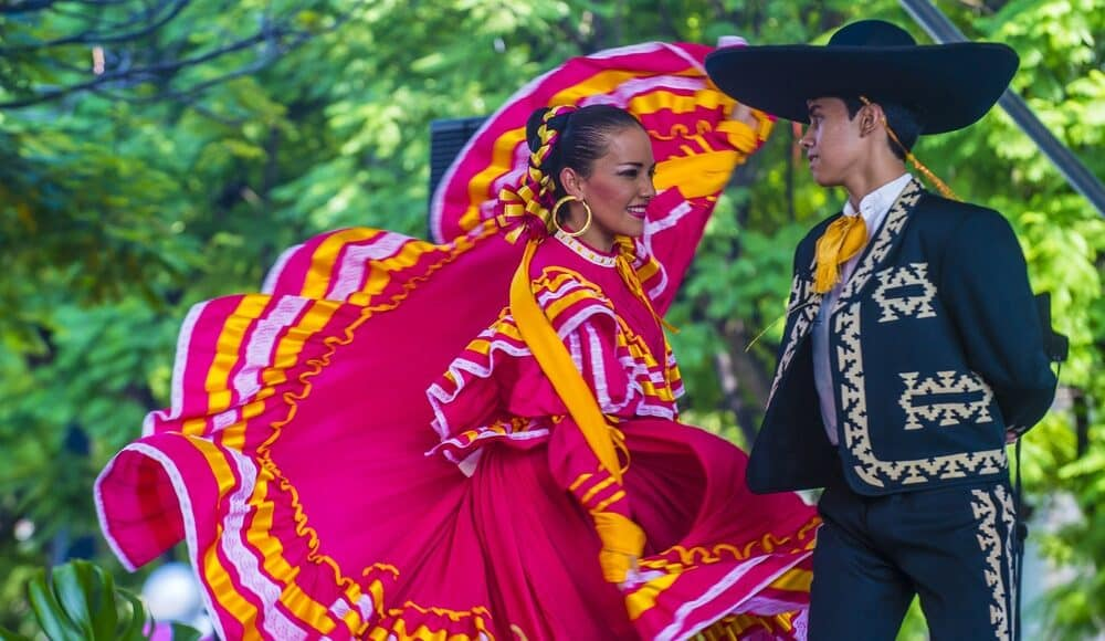 Man and woman dancing traditional Mexican dance