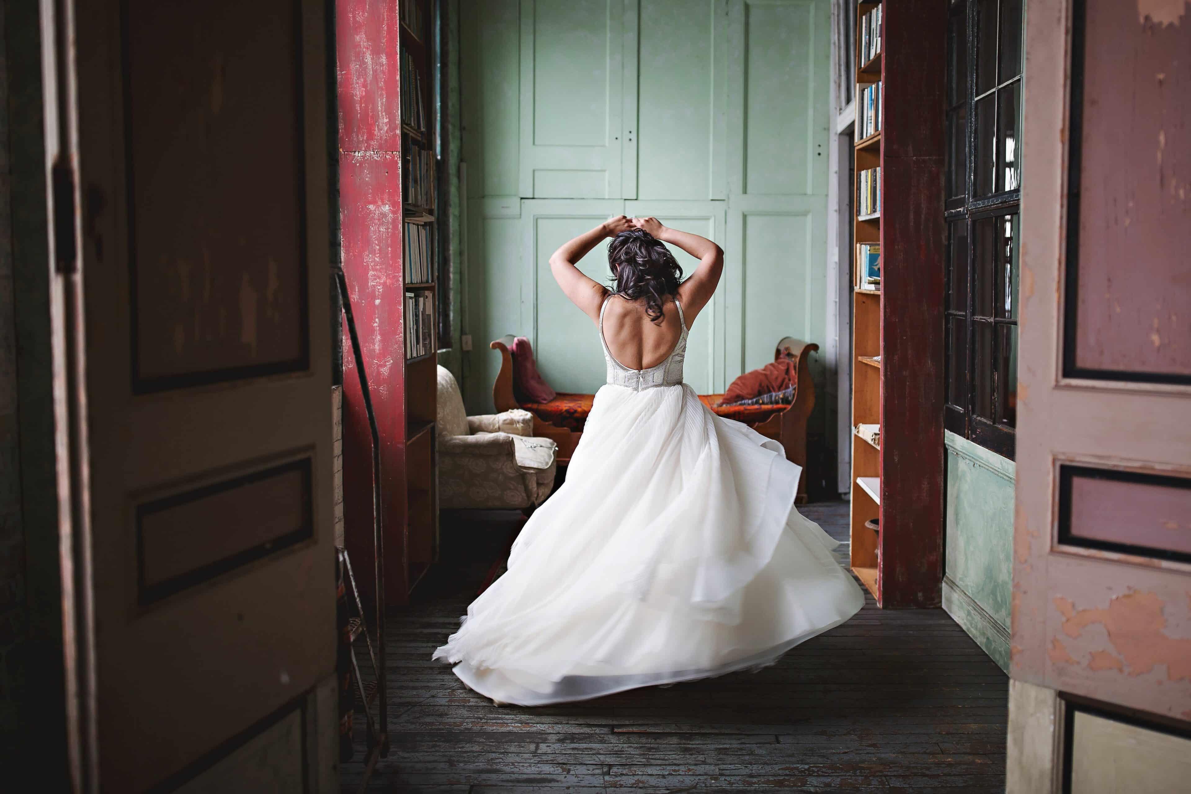 Bride dancing on her own
