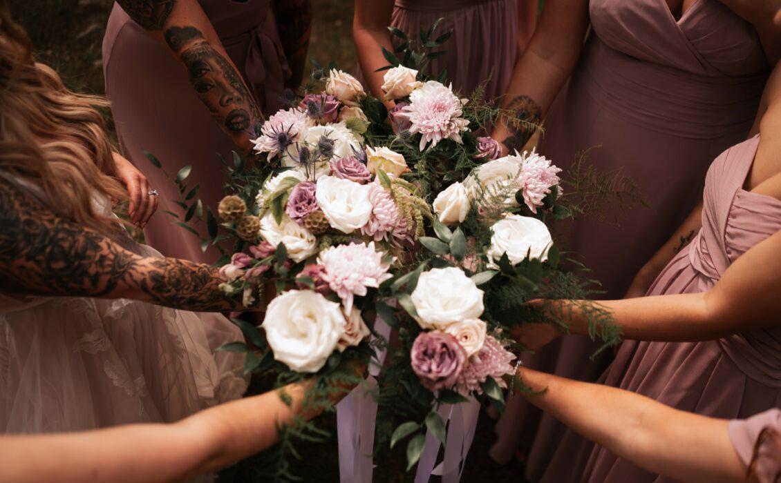 Bridesmaids flower bouquet group shot