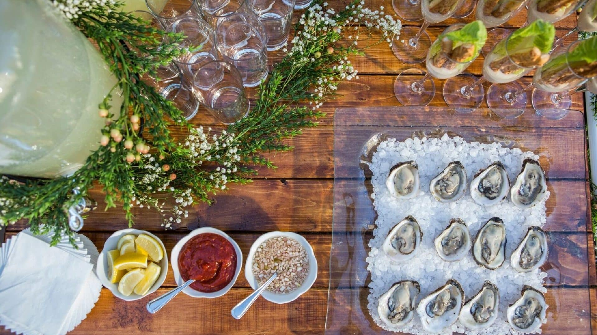 Cart with Oysters, Caesar Salad Flutes, Lemonade