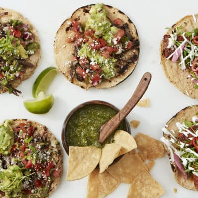Open-faced tacos with salsa verde