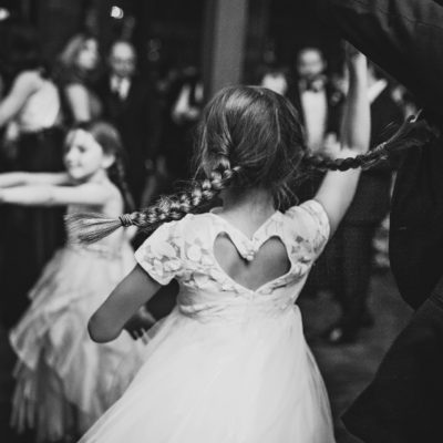 Little girls dancing in braided pigtails
