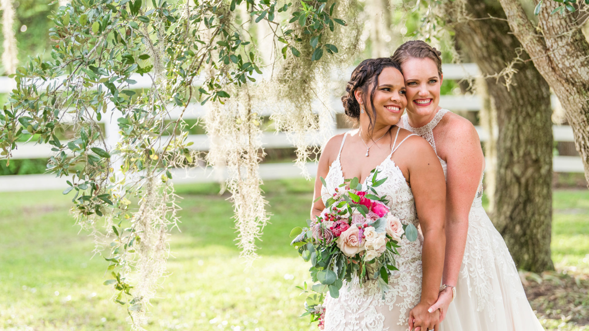 Gorgeous bride and bride on their wedding day