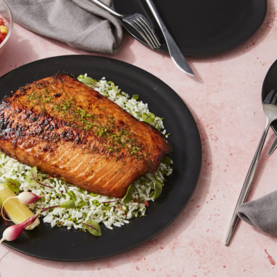 Lunch Main - Chipotle Lime Roasted Salmon, Cilantro Rice, Mango Salsa
