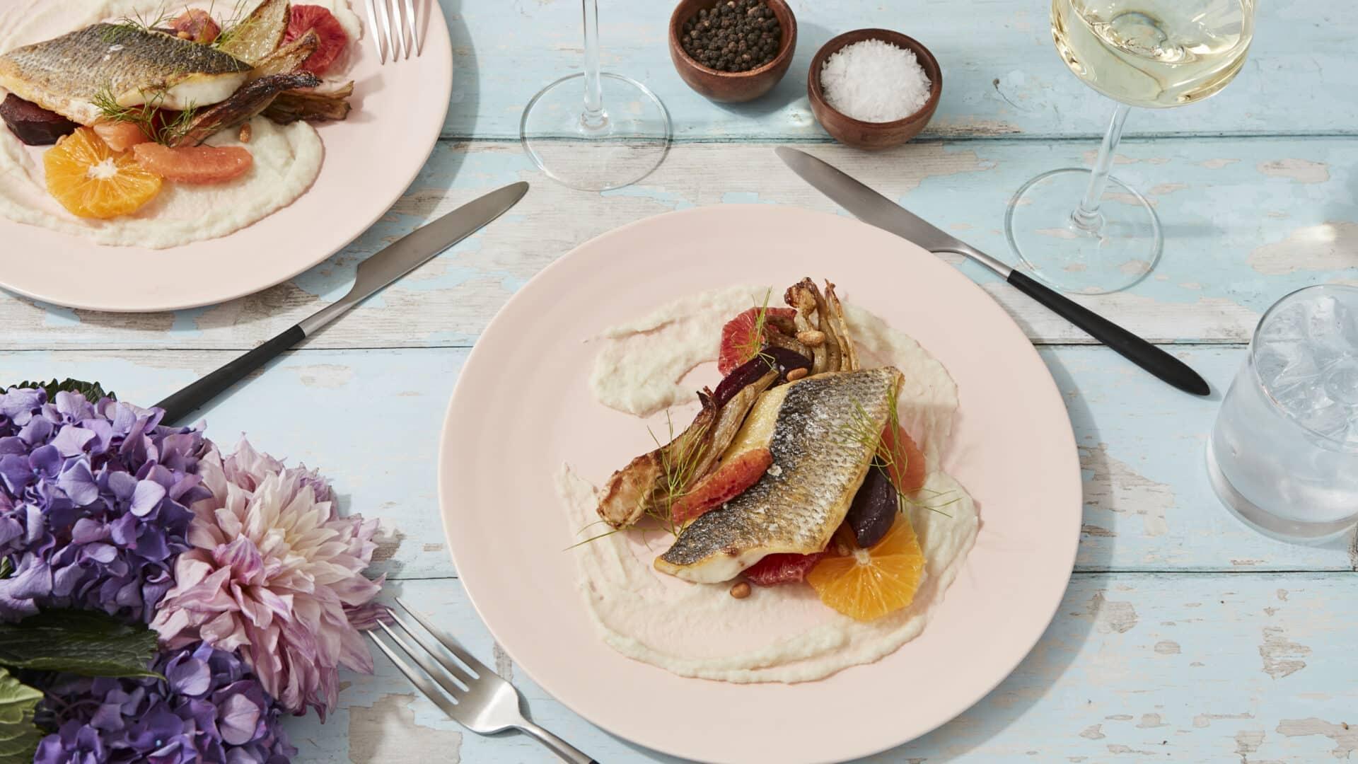 Wild Sea Bass, Fennel Potato Puree