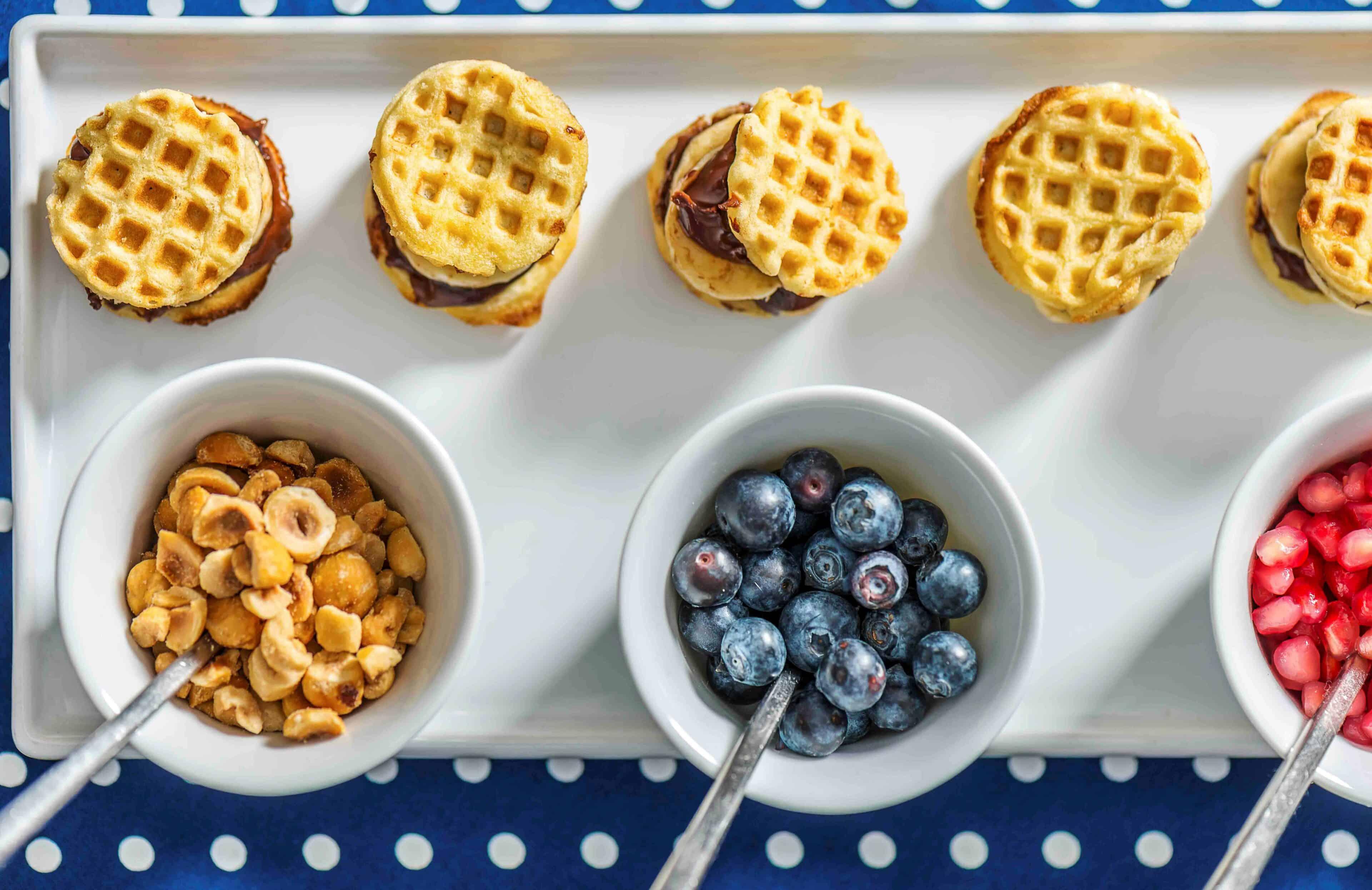 Mini Waffle Sandwiches, Fruit and Nutella