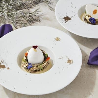 Plated Dessert - Uovo Panna Cotta, Mango Suspension