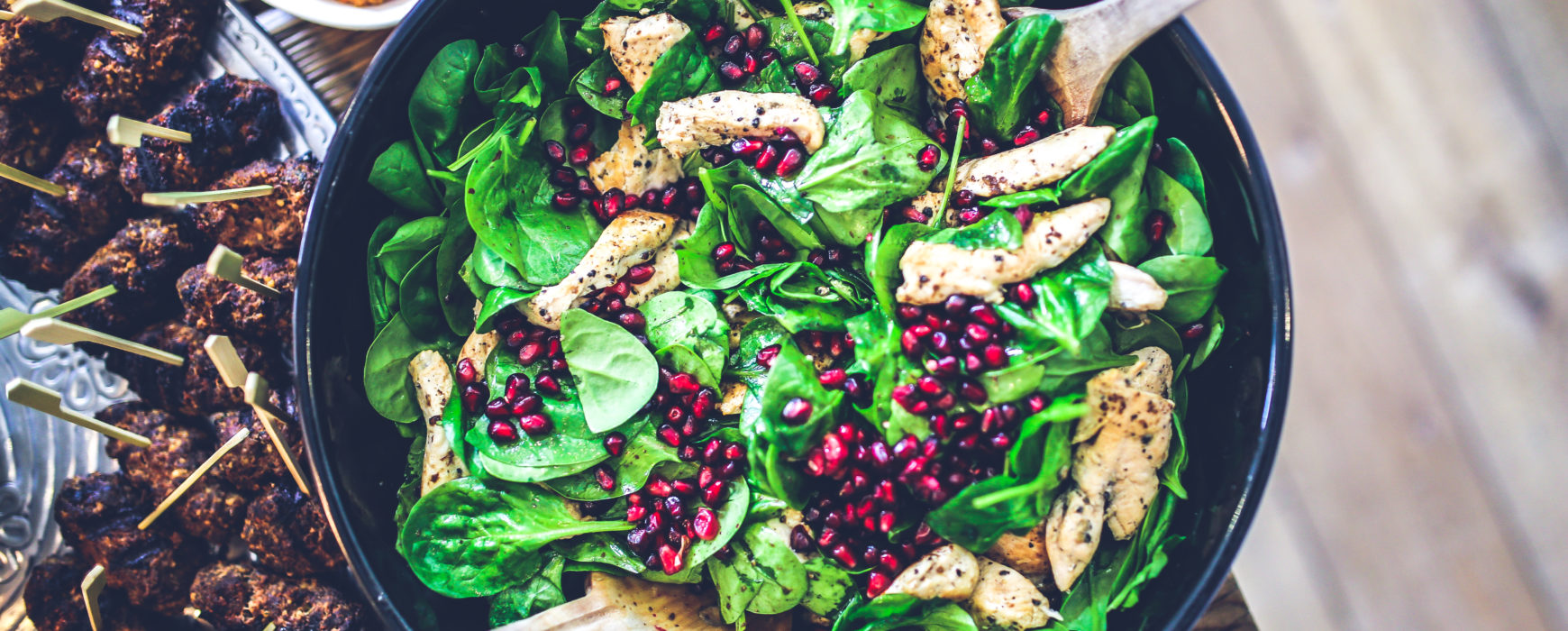 Spinach Salad, Pomegranate Seeds, Grilled Chicken