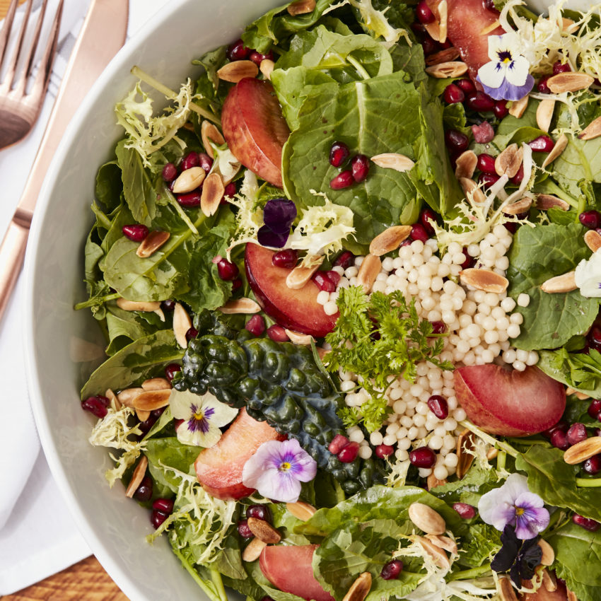 Kale Almond Salad, Curry Vinaigrette