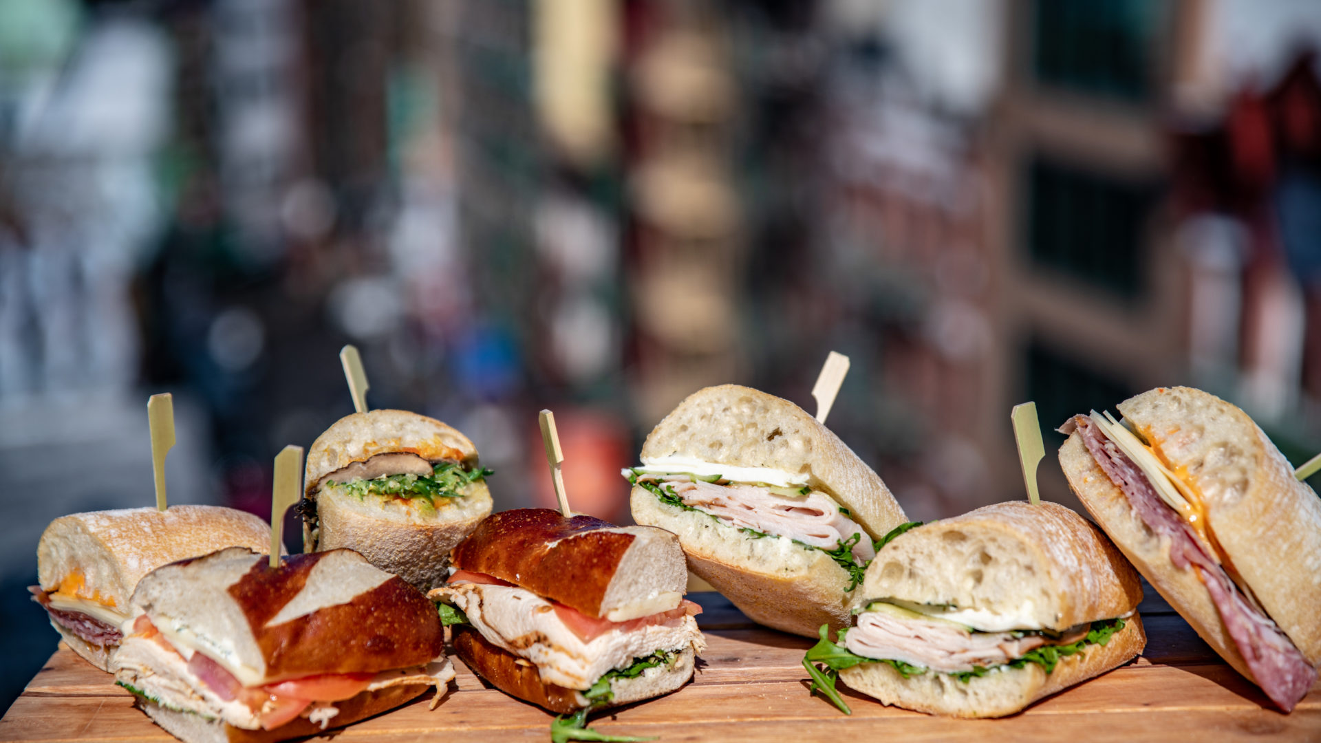 Large New York deli sandwiches