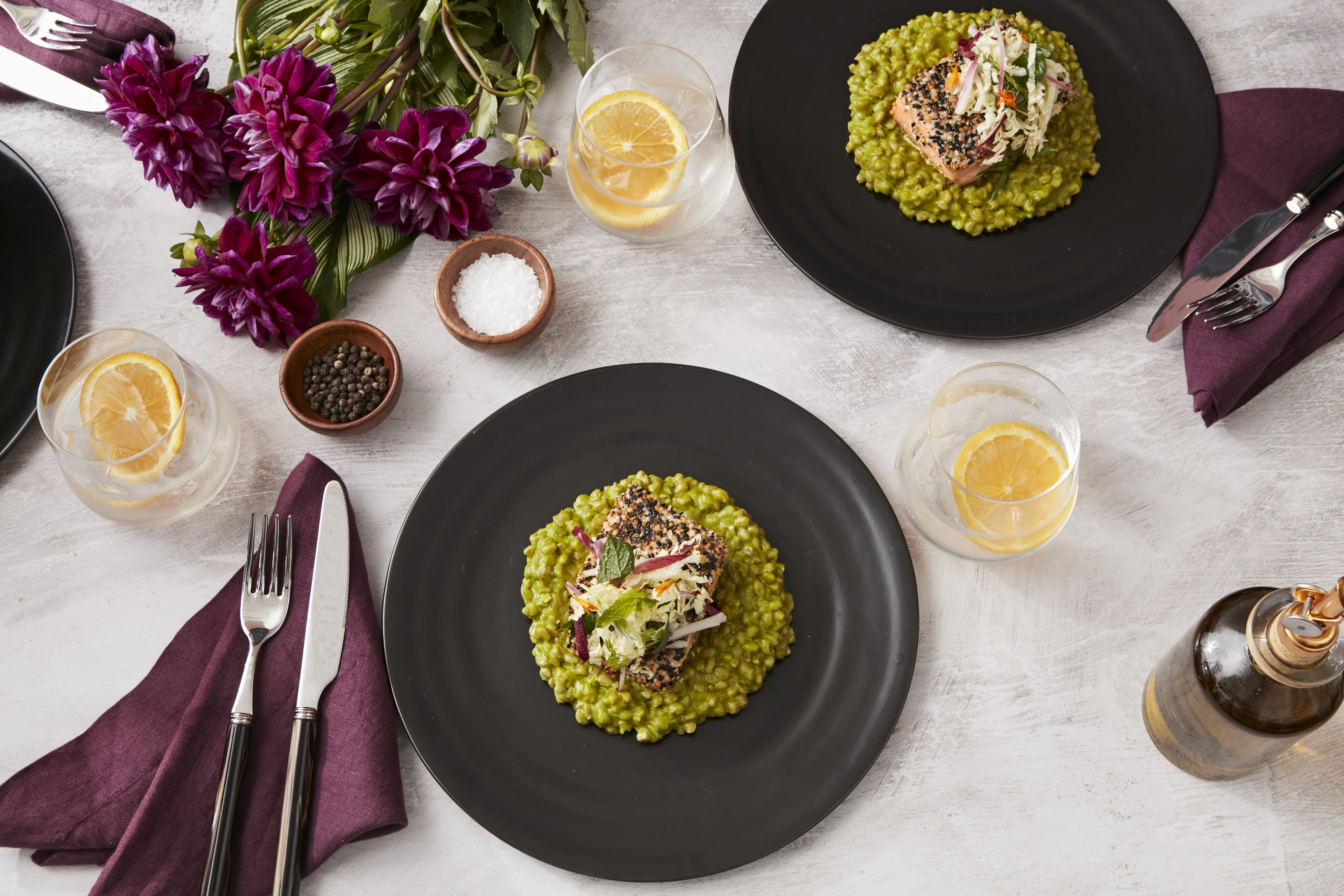 Main Dish - Seed-Crusted Arctic Char, Farro Risotto