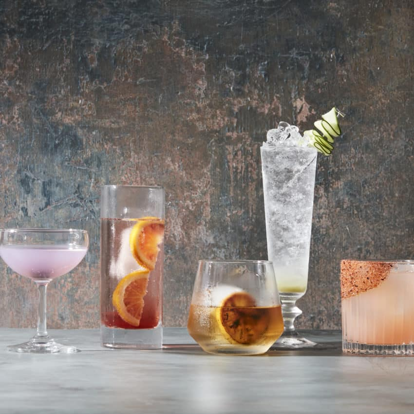 Group of specialty cocktails