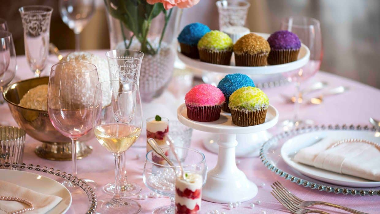Table Setting featuring cupcakes on cake stands
