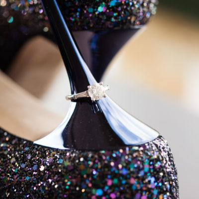 Wedding ring and sparkly Jimmy Choo shoes